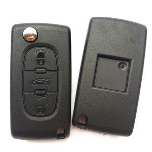 Image 5 - Carcasa de la llave a distancia del coche, 3 botones, para PEUGEOT 406, 407, 308, 408, 307, funda plegable con tapa, CE0536, HU83/VA2 Blade