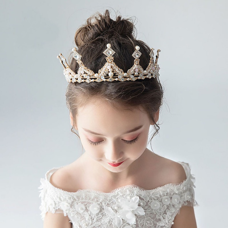 New Children's Girls Crown Headwear Princess Girl Crown Headband Cute Crown Crystal Flower Wedding Party Accessories Photography