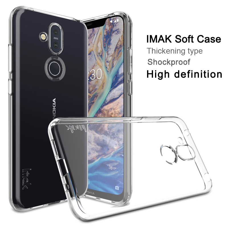 IMAK Ultra Thin Clear Soft <font><b>TPU</b></font> Case For <font><b>Nokia</b></font> 8.1 X7 X6 <font><b>6.1</b></font> Plus Transparent Back Cases For X7 X6 Slim Silicone Cover image