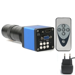 Top 14Mp 1080P Digital Video Hdmi Micro-scope Camera +130X C Mount Lens for Pcb Soldering Repair Dual Display Output(Eu Plug)