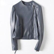 Autumn Winter Real Sheepskin Leather Coat Women Short Zipper Up pockets  Motorcycle Jackets Outwear Simple High Quality Coat