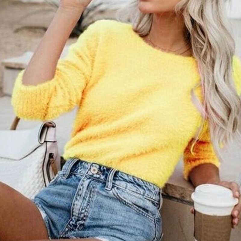 Suéter de talla grande para mujer Pullovers 2019 Otoño Invierno cuello redondo de manga larga de punto suéter Sexy de felpa suelta suéteres Casuales