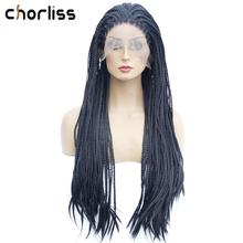 Длинные прямые натуральные черные розовые Плетеные Коробки косички парик цветной женский синтетический кружевной передний парик Chorliss Glueless термостойкий