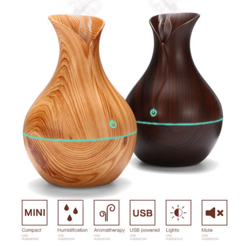 300ML Air Humidifier Essential Oil Diffuser wood grain Aromatherapy diffusers Aroma purifier MistMaker led light for Home 3