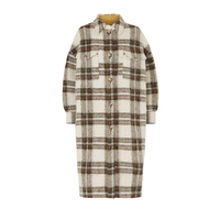New Autumn Winter women's Woolen coat plaid single breasted jacket with large brushed pocket knitter sweater long outwear top