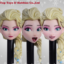 Stock AS043 1/6 Scale Female Woman Girl Elsa Head Sculpt with Movable Eyes With golden PVC Hair For 12 TBL suntan body