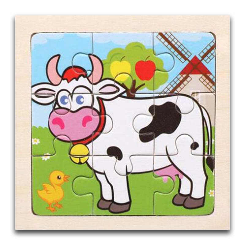 3D Paper Kids Children's Baby Early Childhood Educational Toys Cartoon Cow Wooden Small 9-Piece Jigsaw Puzzle 1-3-Year-Old