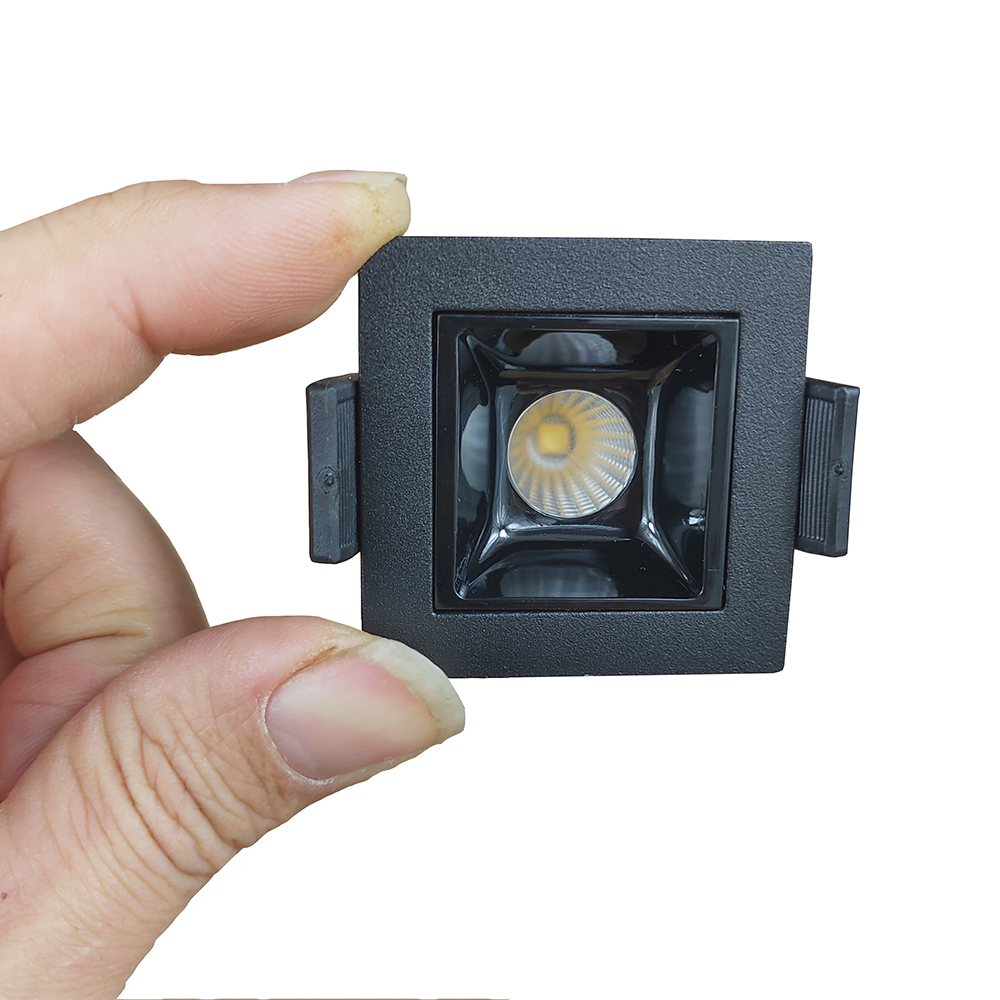 Sqaure LED Room Lamp Black Mini Recessed Light 3W 90Ra+ For Hotel Room Front Desk