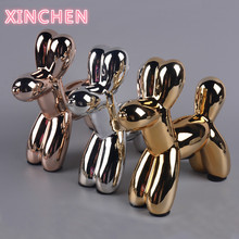 Ceramic animal dog put a Nordic home decoration put on a gold silver balloon plating