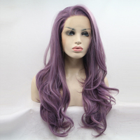 JINKAILI Synthetic Lace Front Wig Long Wavy Purple Wigs For Black Women Wave Hair Female Peruca Heat Resistant