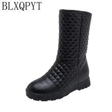 BLXQPYT Botas de nieve de Invierno para mujer, calzado informal de felpa cálido con aumento de altura y punta redonda, tallas 33 53, 2019