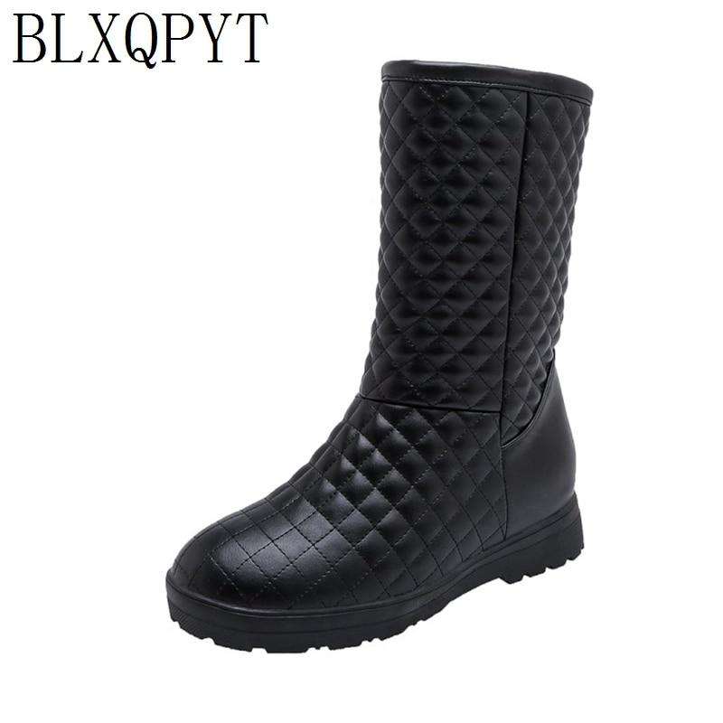 BLXQPYT Super Big & small Size 33 53 da Neve do Inverno Botas de Mulheres 2019 rodada toe Altura Crescente casual quente pelúcia Sapatos de mulher 233Botas de cano médio   -