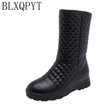 BLXQPYT Super Große & kleine Größe 33 53 Winter Schnee Stiefel Frauen 2019 runde kappe Höhe Zunehmende casual warme plüsch Schuhe frau 233