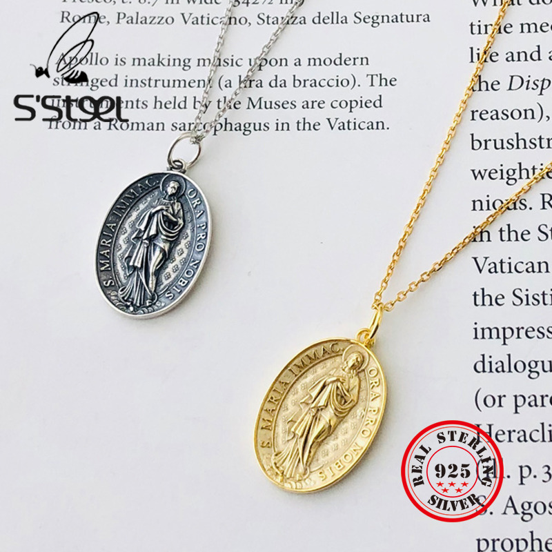 S'STEEL Virgin Mary Pendant For Women 925 Sterling Silver Christian Vintage Necklaces & Pendants Without Necklace Fine Jewelry