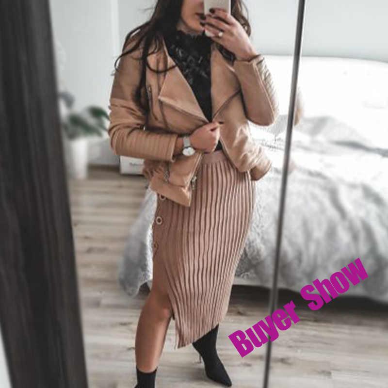 Suede Patchwork PU Kulit Wanita Mantel Double Turndown Collar Zipper Wanita Jaket 2020 Gugur Musim Dingin Fashion Wanita Mantel