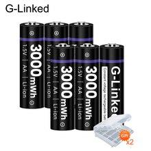 6PCS AA 1.5V 3000mWh batteria ricaricabile USB batterie ricaricabili batteria ai polimeri di litio per Mouse batteria piccola ventola