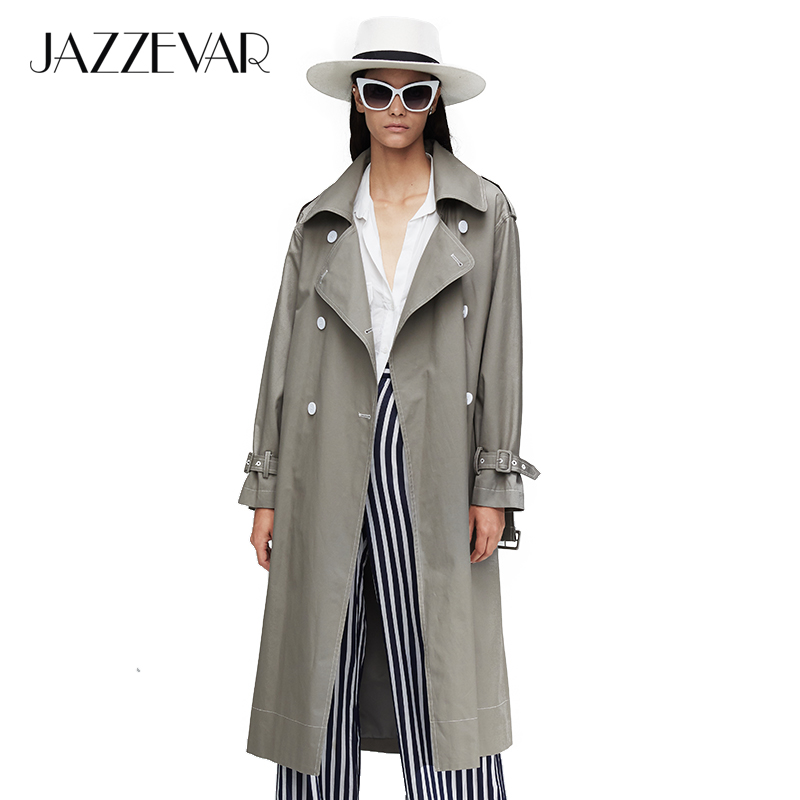 JAZZEVAR2019 New Arrival Autumn Trench Coat Women Top Red Color Cotton Double Breasted Long Fashion Style With Highquality9020-1