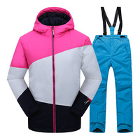 Children Clothing Set Girls Clothing Ski Suits Windproof Jacket +Pant Winter Warm Skiing Suit Outdoor Teens Kids Snow Sets