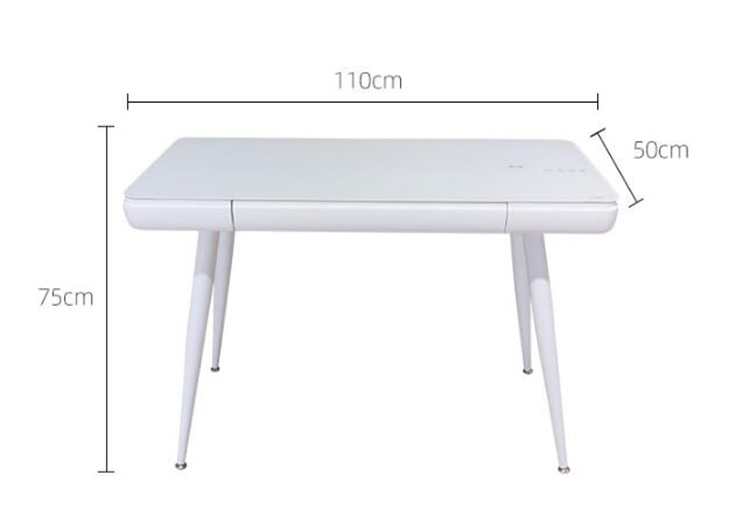 Купить с кэшбэком Creative ergonomic computer desk simple tempered glass countertop drawer study table writing desk smart office table