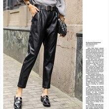 JUJULAND woman PU pants classic black warm high quality straight-leg winter style 653