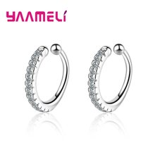 Classic Sparkling AAAA Zircon Ear Clip Earrings 925 Silver Ear Brincos for Women Girls Student Round Loop Circle Shaped Jewelry(China)