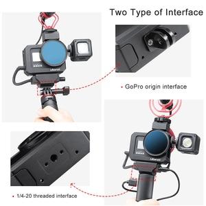Image 3 - Ulanzi מתכת Vlog כלוב מקרה עבור Gopro 8 שחור קר נעל מיקרופון מתאם מקרה עבור LED אור מיקרופון Gopro סוללה מיקרופון מתאם