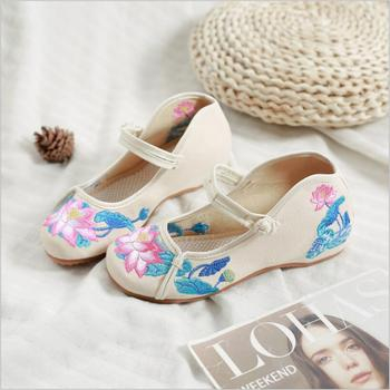 Lotus pond moonlight lotus Pattern embroidery cloth shoes Traditional canvas shoes Temple nunnery women's single nun shoes fancy 3d lotus pond design bathroom stickers
