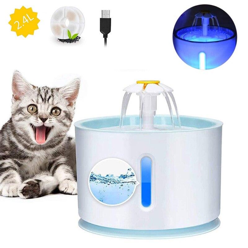 Автоматический питьевой фонтанчик для домашних животных, бесшумная поилка для собак и кошек, емкость 2,4 л, USB
