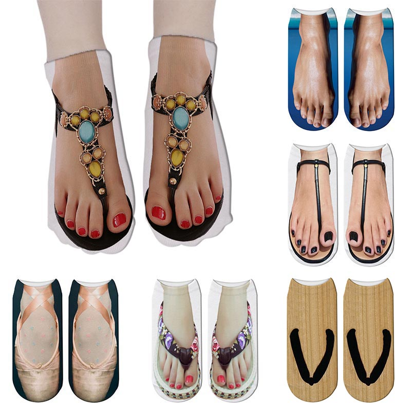 Cute Foot Printed 3D Socks For Women Kawaii Low Ankle Femme Girls Cotton Socks Casual Funny Creative Socks Happy Calcetines Sox