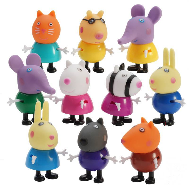 10pcs/set Peppa Pig Friend Action Figure Original Pelucia Anime Toys Boy Girl Gift Set