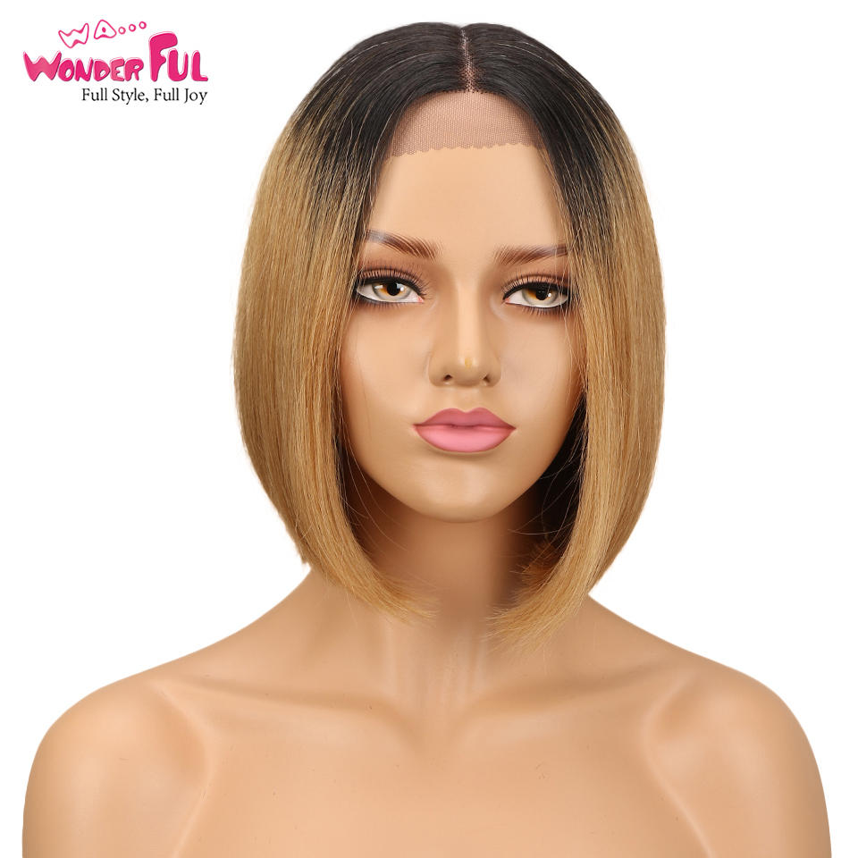 Bob Lace Front Wigs For Black Women Peruvian Short Human Hair Wigs Ombre Human Hair Wig Middle Part 10