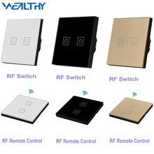 RF433 Wireless Remote Control Wall Light Switch 220V, 86 Type Glass Panel Transmitter 2 Gang Switch Smart Home Bulb Light Switch 100v 240v ac 2 gang 2 way switch rfid wireless 30m remote control touch screen light switch panel 2 wireless receivers