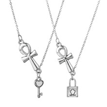 Classic Ankh Cross Pendant Silver Egyptian Key of Life Pendant Necklace Men Women Hip Hop Jewelry Lock Necklace(China)