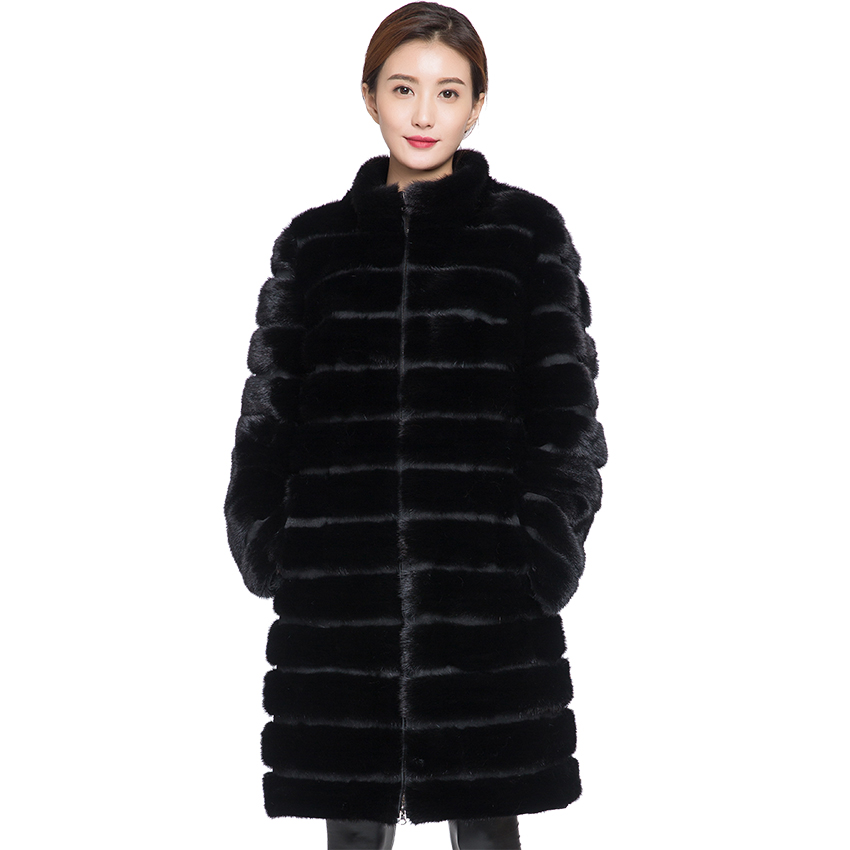 Winter Real Mink Fur Coat For Women,long Style,collar Or With Hood ,  Large Plus Size,sleeves Can Be Unfastened.