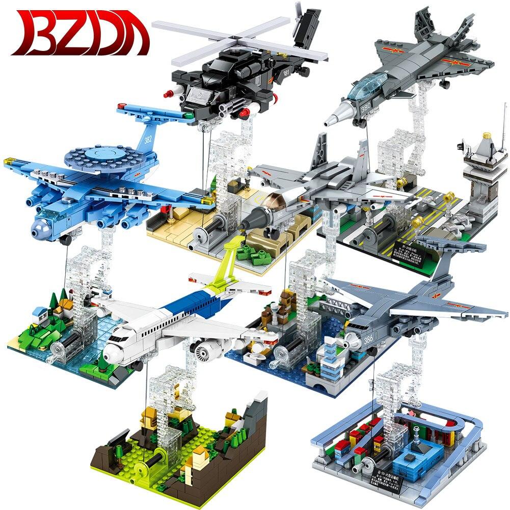 BZDA Aircraft Anti-gravity Building Blocks Military Series Fighter Model Z-20 helicopter Toys gunship Bricks For Birthday Gifts