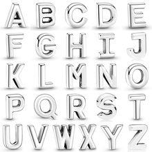 Lettre Alphabet initiale A-Z Petite Médaillon Amulettes Flottantes Fit Mode Bracelet Collier 925 Perles en Argent Sterling Bijoux À Bricoler Soi-Même
