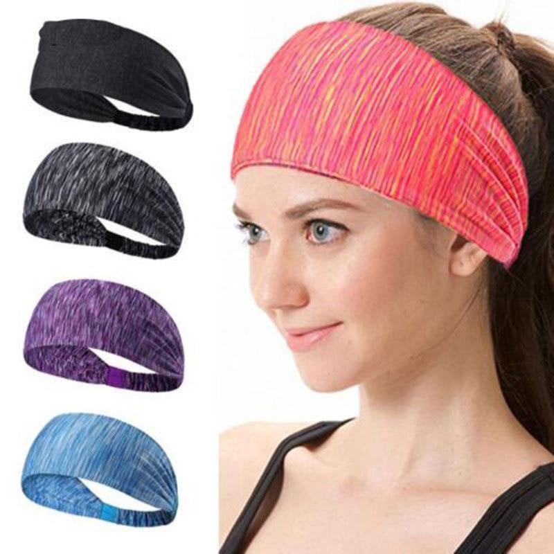 Elastic Striped Headbands for Women Girls Sport Running Yoga Head Band Cotton Wide Hair Band Turban Head Warp Hair Accessories