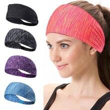 Эластичные полосатые повязки для женщин и девочек, спортивные повязки для бега и йоги, хлопковая широкая резинка для волос, тюрбан, аксессуа...