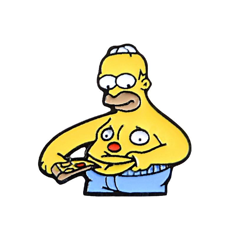 Булавки Симпсоны пончик забавные дизайнерские броши значки Юмор мультфильм рюкзак с эмалевыми вставками булавки для любителей аниме подарки ювелирные изделия оптом - Окраска металла: Style 20