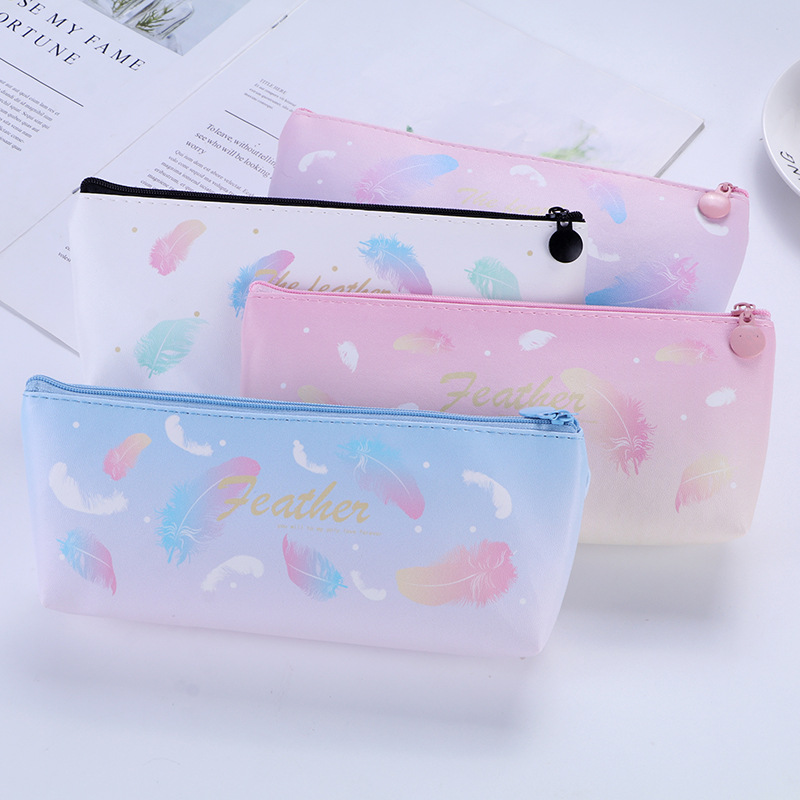 Fantastic Floating Feather PU Large Capacity Pencil Case Pencil Bag Zipper Pouch Large Capacity Pencilcase Box School Office