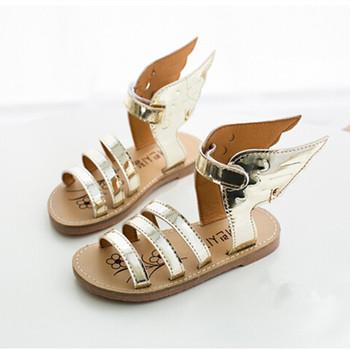Koovan sandały dziecięce 2020 letnie dzieci dzieci srebrny złoty buty skrzydła dziewczyny i buty dla chłopców rzymskie sandały dziecięce buty tanie i dobre opinie RUBBER 7-12y 3-6y CN (pochodzenie) Lato Kobiet Patent leather Płaskie Obcasy Hook loop Pasuje prawda na wymiar weź swój normalny rozmiar