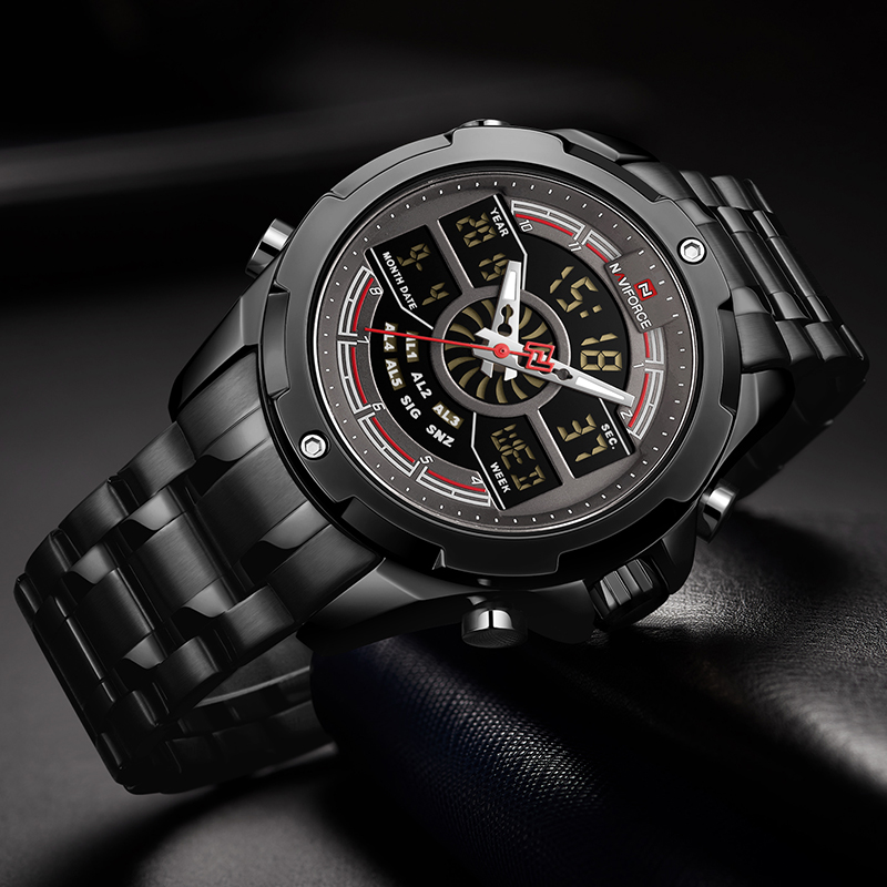 Men Watch NAVIFORCE Top Luxury Brand Mens Analog Digital Dual Display Watches Male Fashion Stainless Steel Waterproof Wristwatch