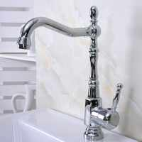 Manija única de latón cromado pulido un agujero lavabo de baño fregadero giratorio grifo mezclador mnf925