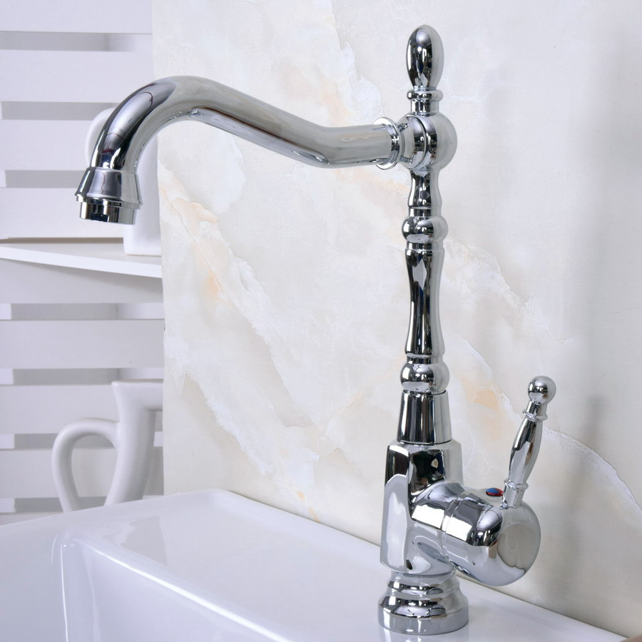 Polished Chrome Brass Single Handle One Hole Bathroom Basin Kitchen Sink Swivel Spout Faucet Mixer Tap Mnf925