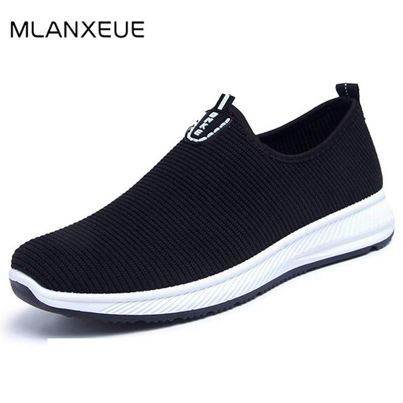 MLANXEUE Black Shoes Rubber-Sole Non-Slip Breathable Mesh Male Autumn Plus-Size Fashion