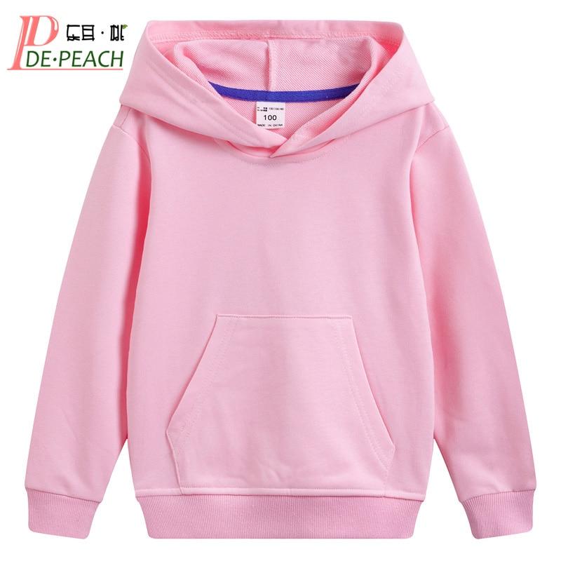 DE PEACH Autumn Winter Cotton Kids Girls Boys Hoodies Outerwear Teenager Children Hooded Pullover Sweatshirt For Boys Girls