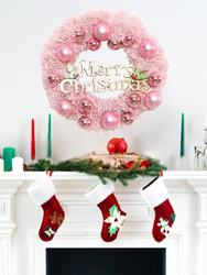 30/40cm Christmas Decoration Pink Christmas Wreath Rattan Ring Shopping Mall Window Scene Ornaments Artificial Christmas Wreath 2