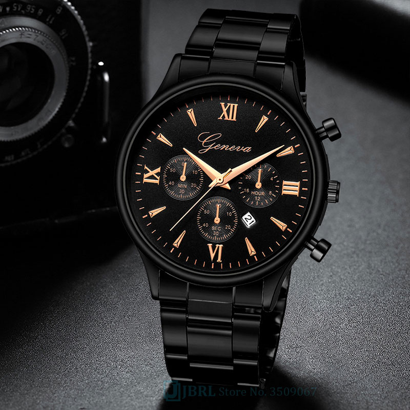 Black Wrist Watch Men Watches Business Fashion New Wristwatch Stainless Steel Male Quartz Watch For Men Clock Hour With Calendar