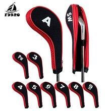 Fdbro 10 pçs clubes de golfe putter cabeça capa conjunto ferro putter headcovers cabeça capa protetor zíper golfe ao ar livre putter acessórios
