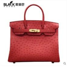 heimanba True ostrich leather bag,women bag, orange temperament, large capacity, new style of female bag